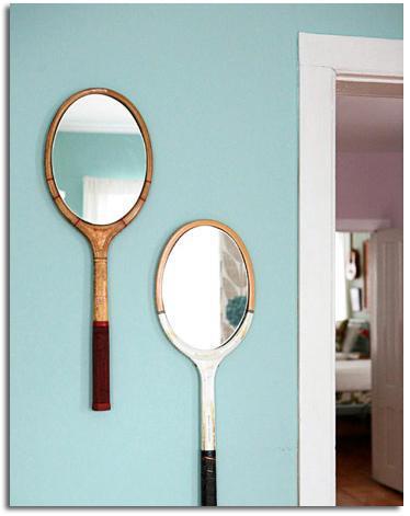 Espejos con raquetas de tenis