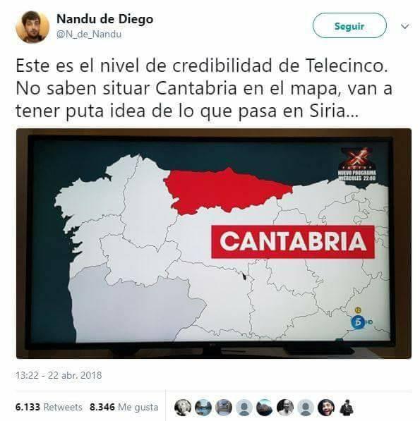 este es el nivel de credibilidad de telecinco no saben situar cantabria en el mapa