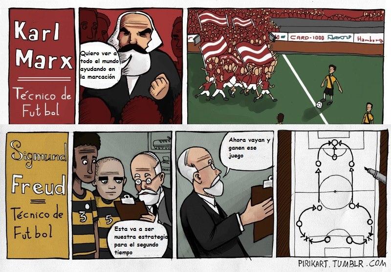 Estrategias de Karl Marx y Sigmund Freud como técnicos de fútbol