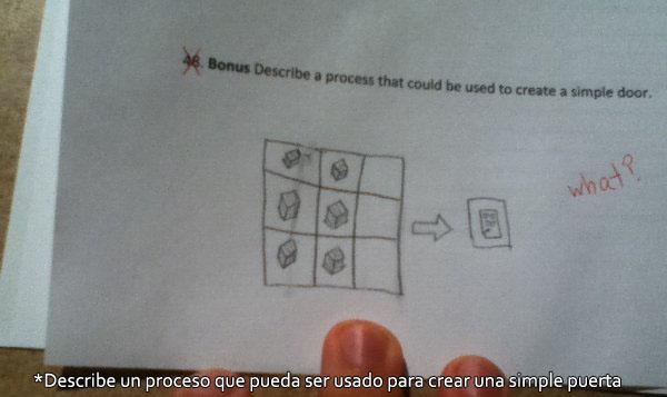examen - describe un proceso para crear una simple puerta - minecraft