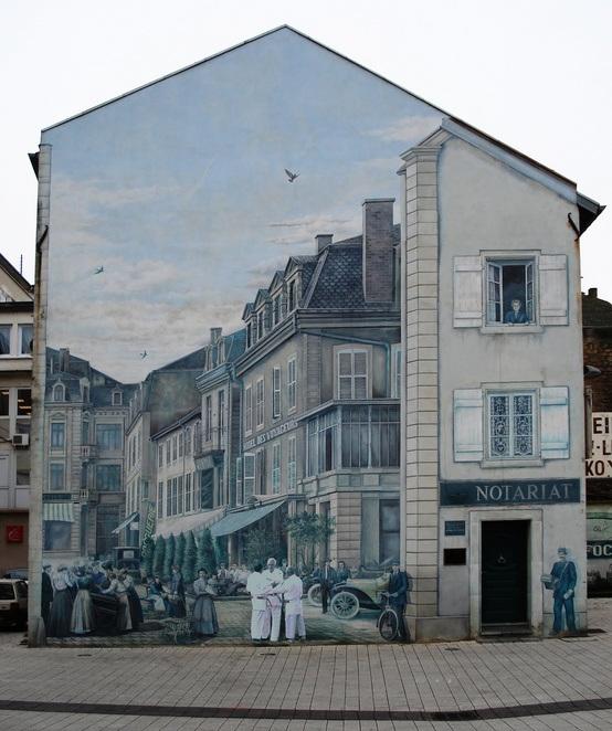 fachada pintada - calle años 50