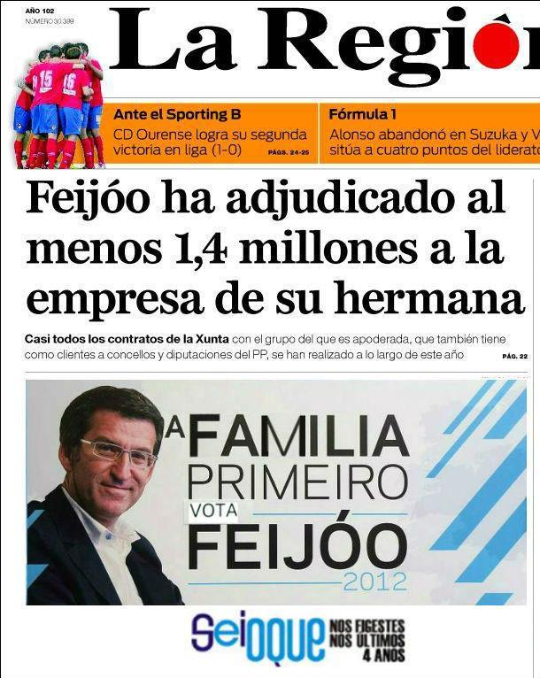 Feijóo ha adjudicado al menos 1,4 millones a la empresa de su hermana