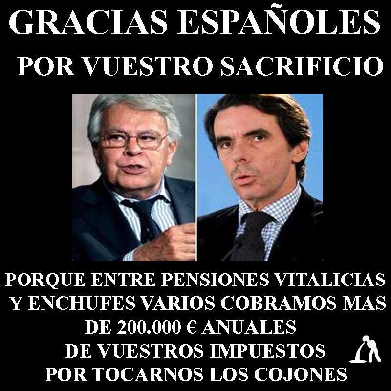 De parte de Felipe González y José María Aznar, ¡gracias, españoles!