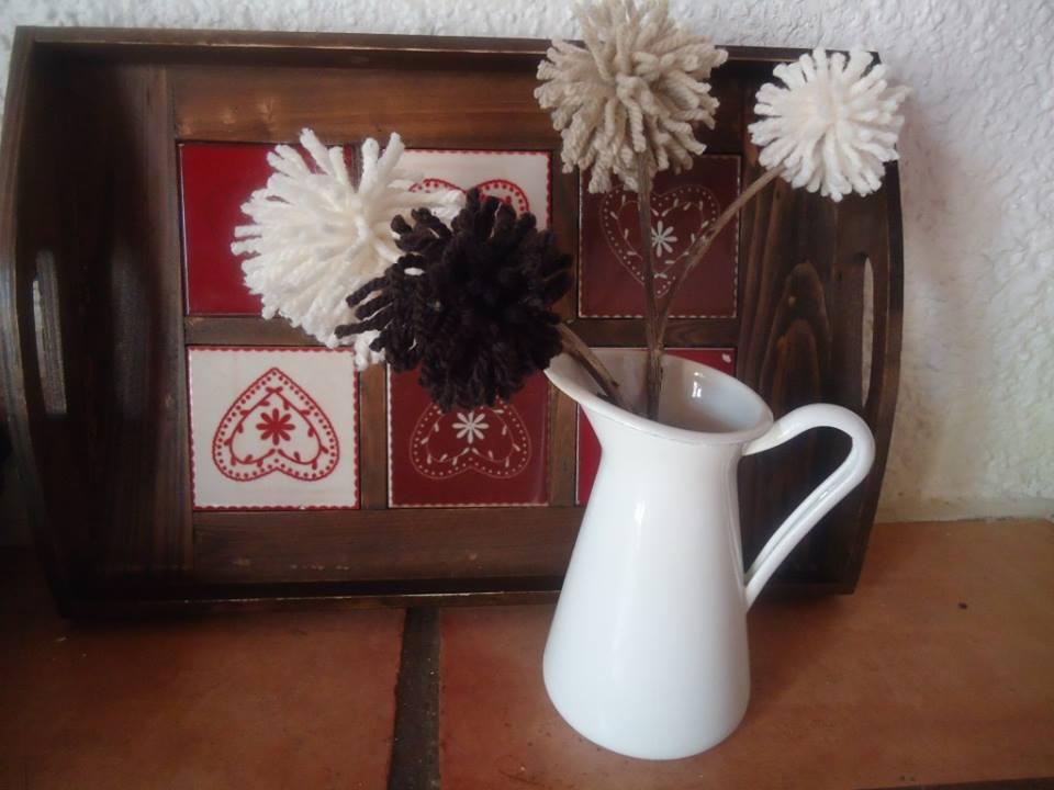 florero con pompones