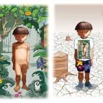 Niño indígena con/sin bosque