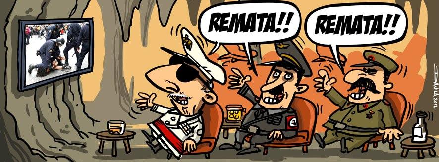 franco y oficiales viendo antidisturbios torturando - remata - remata