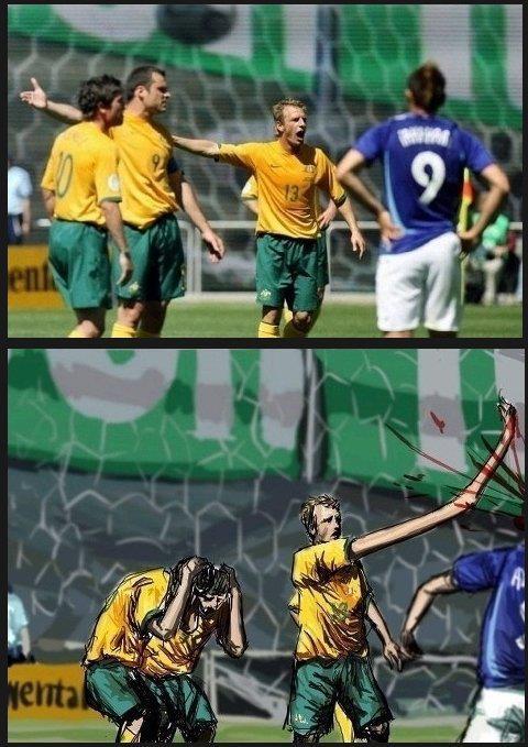 Futbolista con brazo largo