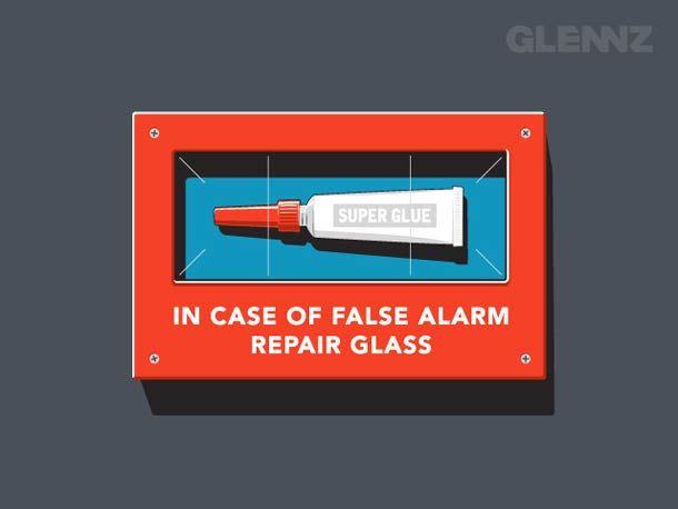 glennz en caso de falsa alarma, reparar cristal