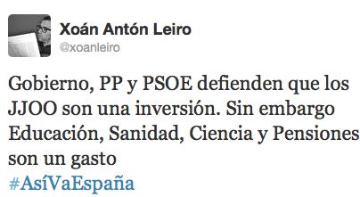 PP y PSOE defienden que los JJOO son una inversión. Sin embargo, educación, sanidad, ciencia y pensiones son un gasto