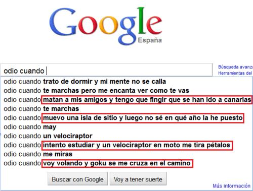 """Google - Sugerencias para la búsqueda """"odio cuando..."""""""