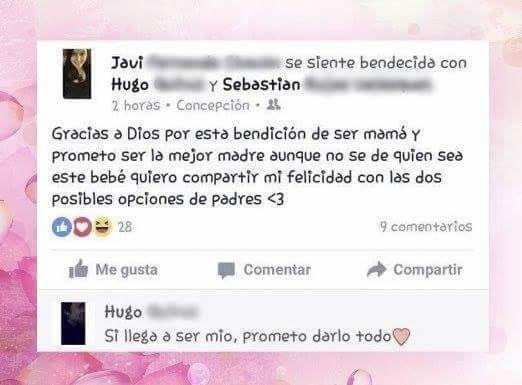 Madre felicitando a los dos posibles padre por Facebook