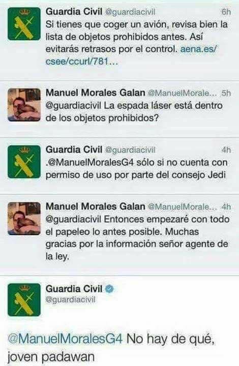 La Guardia Civil aclara en twitter si las espadas láseres están permitidas en los aviones