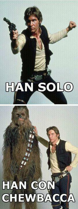 Han Solo y Han con Chewbacca