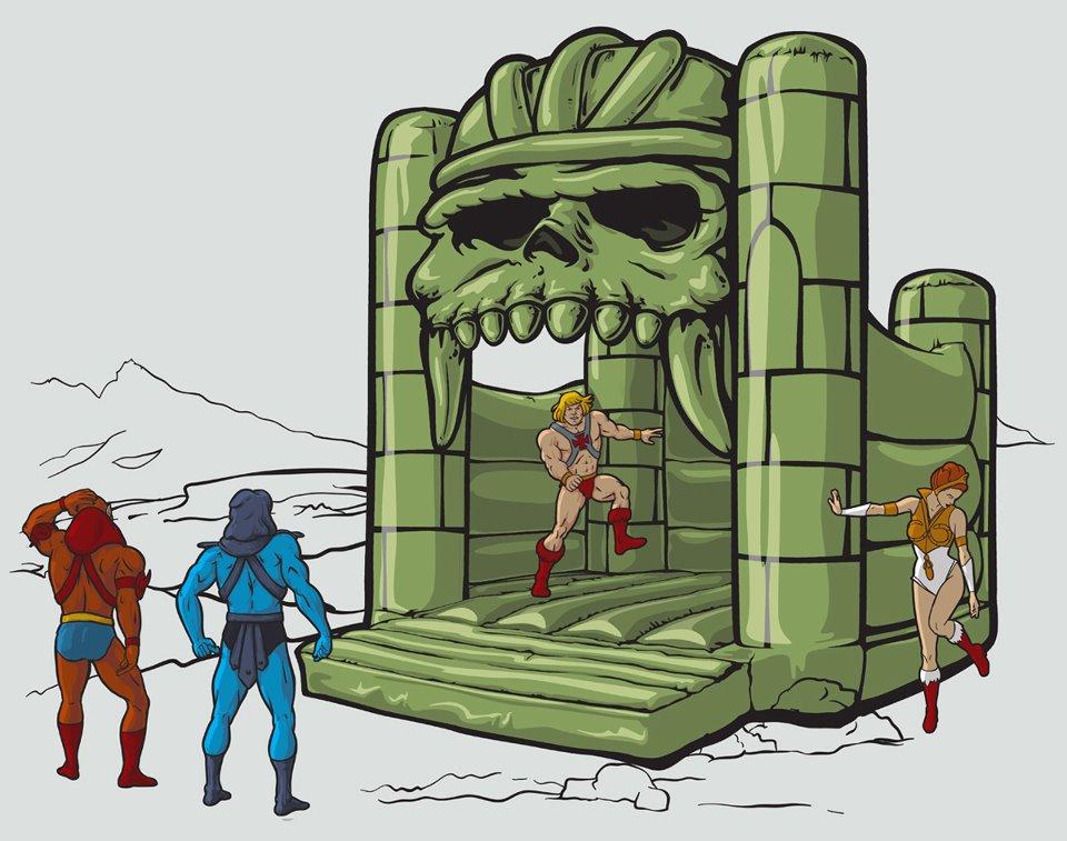 He-man en castillo hinchable