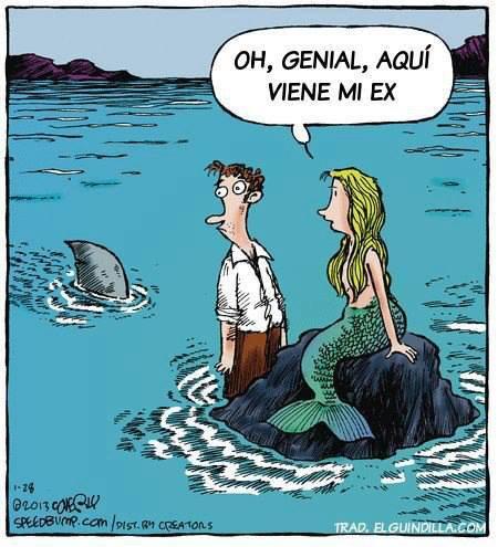 hombre con sirena - tiburon - oh genial aqui viene mi ex