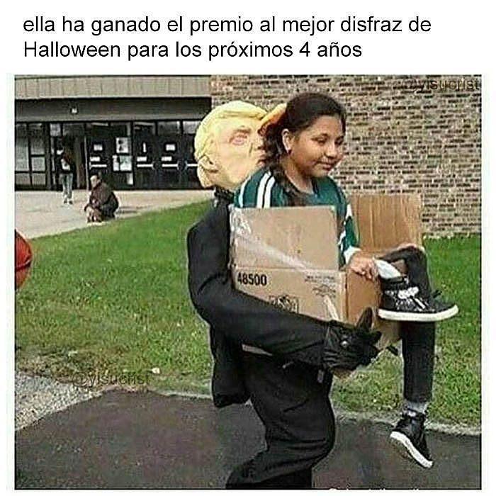 inmigrante caja donald trump premio al mejor disfraz de halloween