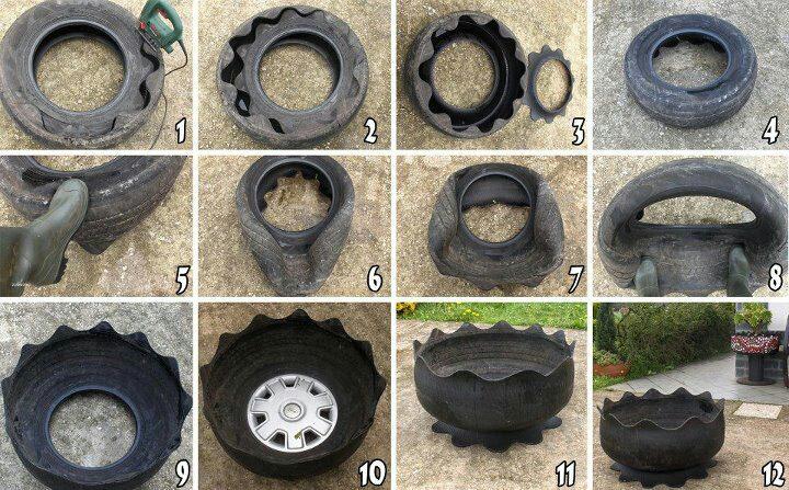 Jarrón con rueda reciclada