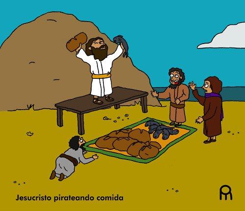 Jesús pirateando comida