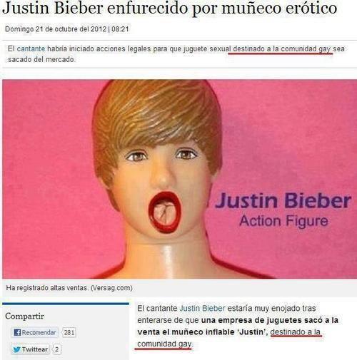Justin Bieber enfurecido por muñeco erotico