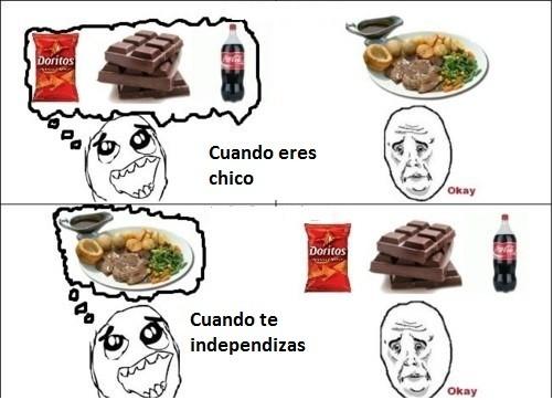La comida que quieres cuando eres un niño y cuando te independizas