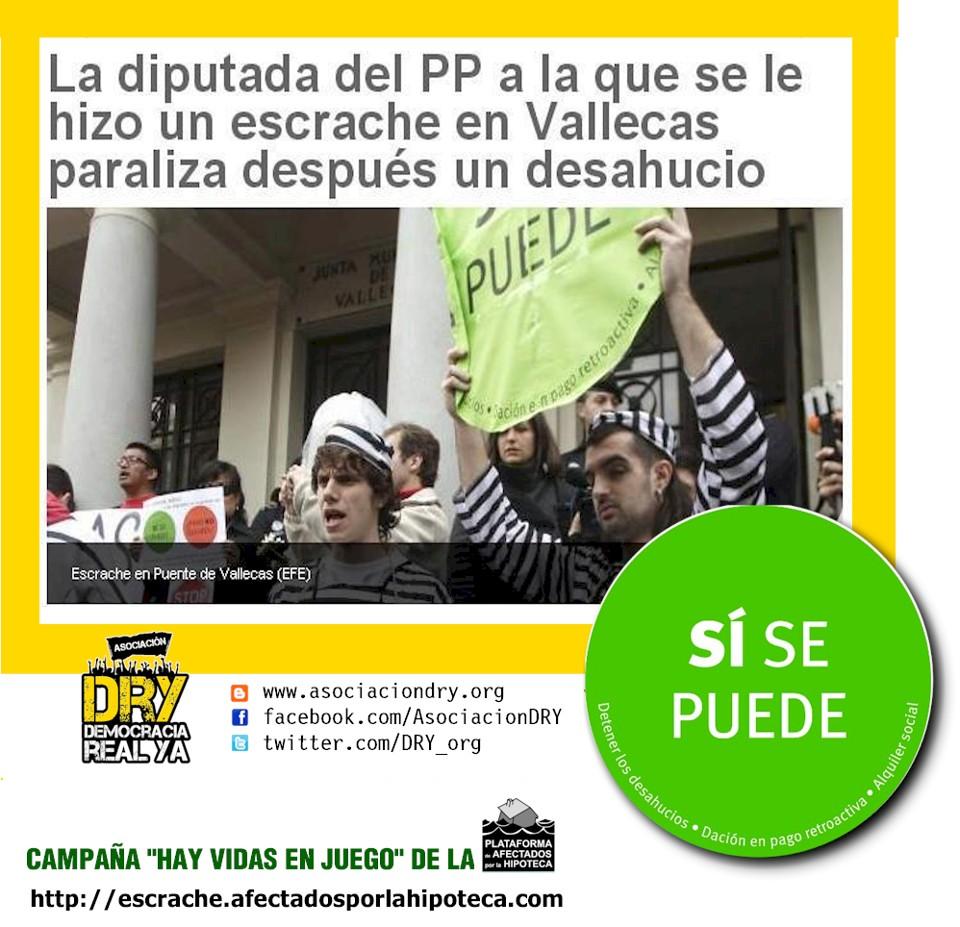 La diputada del PP a la que se le hizo un escrache en Vallecas paraliza después un desahucio - Sí se puede