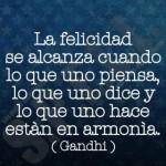 La felicidad se alcanza cuando lo que uno piensa, lo que uno dice y lo que uno hace estén en armonía (Gandhi)