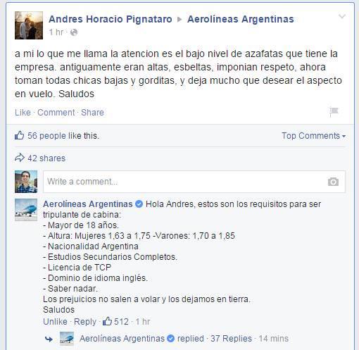 la genial respuesta del CM de aerolineas argentinas a un usuario machista