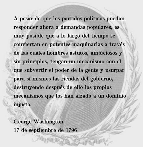 la maquinaria de los partidos politicos - george washington