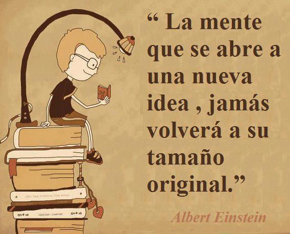 La mente que se abre a una nueva idea jamás volverá a su tamaño original (Albert Einstein)