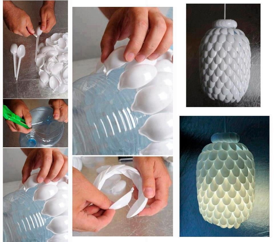 Lámpara con botella y cucharas de plástico