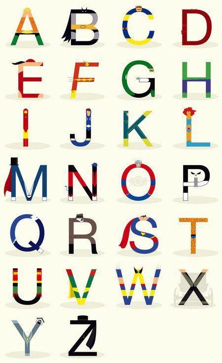 letras iniciales superheroes