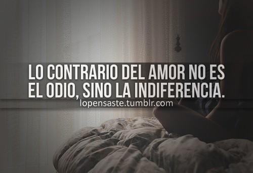 Lo contrario del amor no es el odio, sino la indiferencia