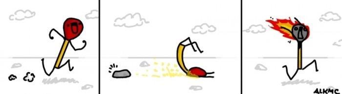 Lo que pasa cuando una cerilla se cae