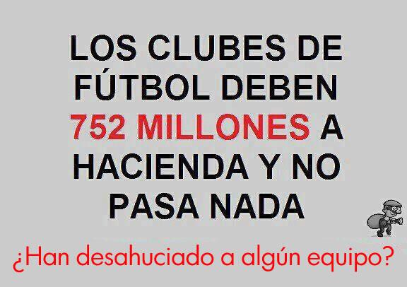 Los clubes de fútbol deben 752 millones a hacienda y no pasa nada