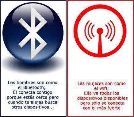 Hombres bluetooth y mujeres wifi