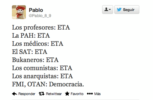 Según los políticos del PP, todo es ETA menos...