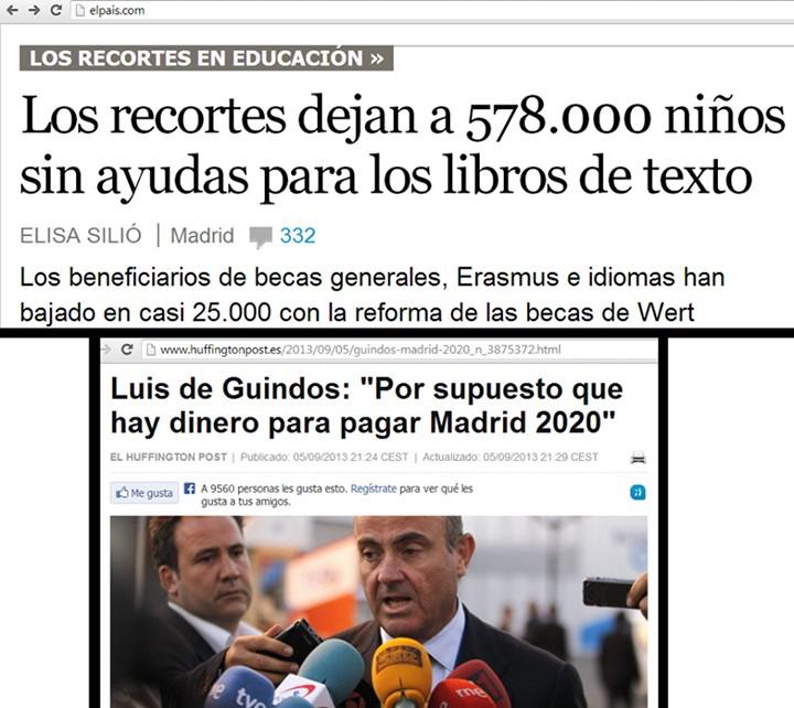 No hay dinero para educación, pero sí para Madrid 2020