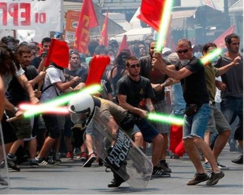 Manifestación en Grecia a lo Star Wars