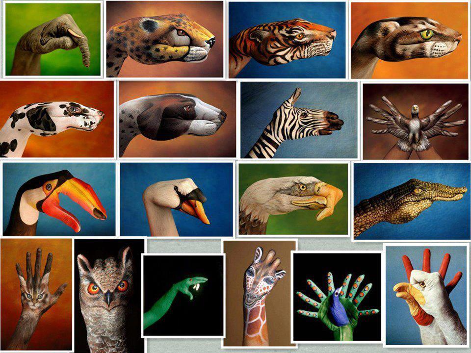 Animales dibujados en manos