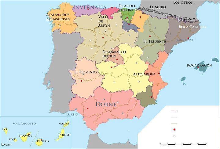 Mapa de España - Juego de Tronos