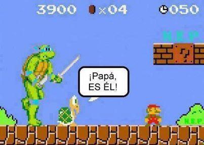 mario bros tortuga ninja papa es el