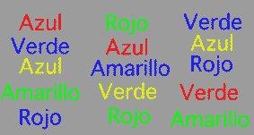 Menciona en voz alta los colores de cada palabra