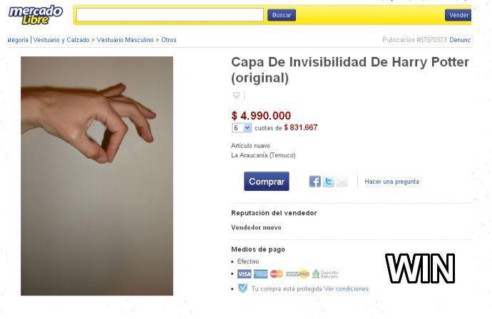 Se vende capa de invisibilidad de Harry Poter