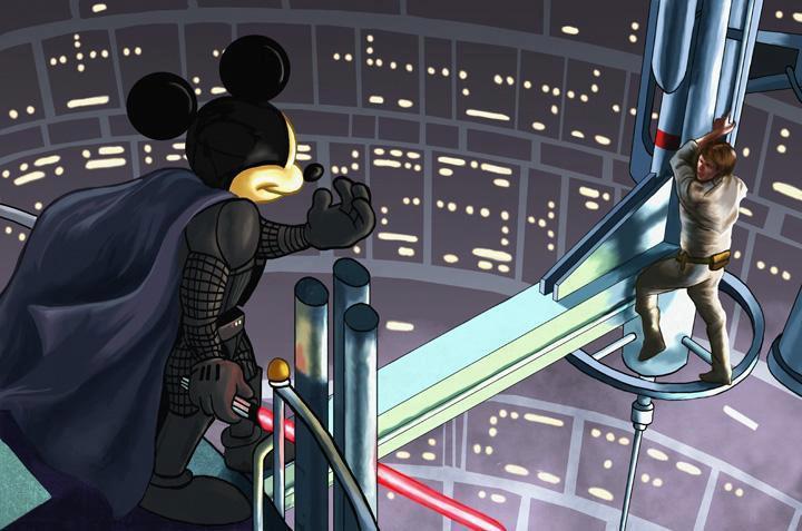 micky mouse darth vader llamando a luke skywalker