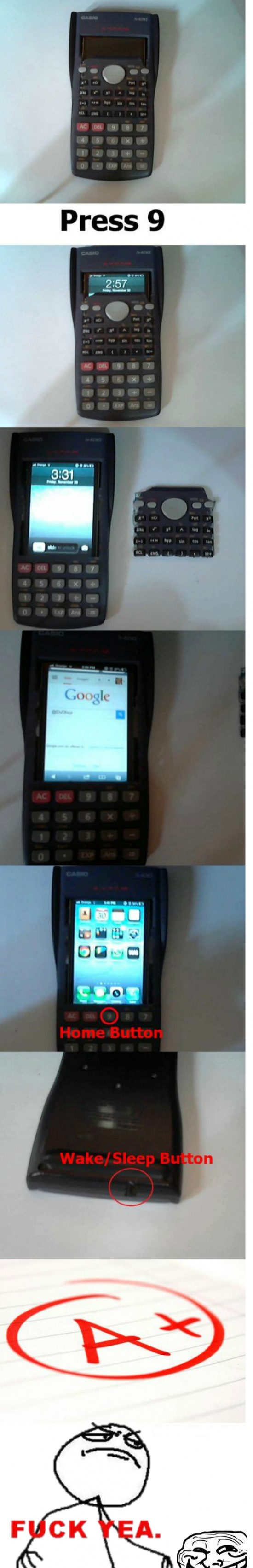 Móvil camuflado en calculadora