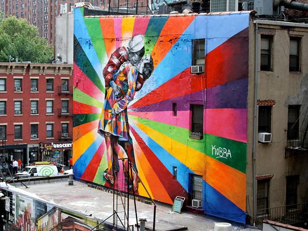 Mural - Beso y colores