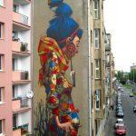 Mural – Chica con pájaro (Lodz, Polonia)