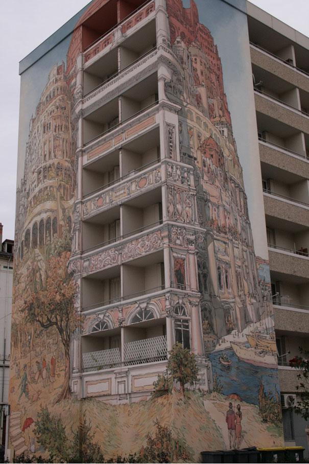 Mural - Edificación sobre montaña (Lyon, Francia)