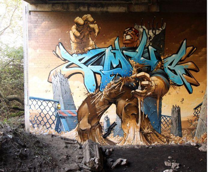Mural - Bestia saliendo de la tierra