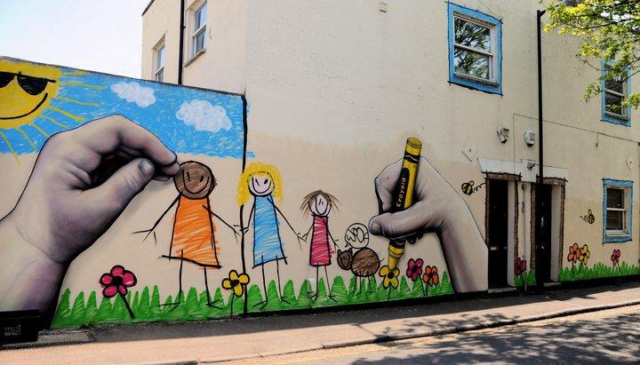 Dibujo infantil en St. Pauls', Bristol